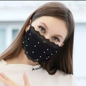 Lace party face mask black adjustable halloween